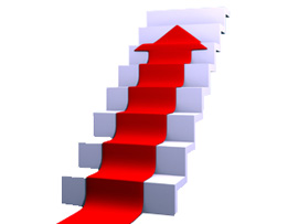 stairway with red carpet arrow